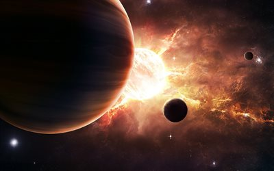 4k, sun, planets, digital art, galaxy, brown planet, sci-fi, universe, NASA, sun and planets