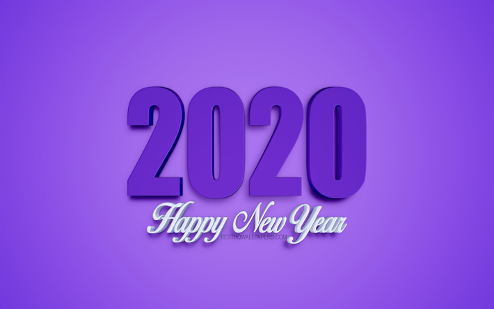 Download Wallpapers Purple 2020 Background Happy New Year
