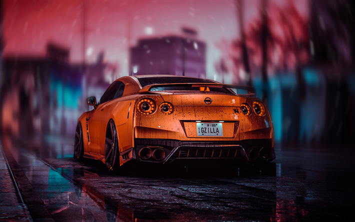 Download wallpapers Nissan GT-R, back view, tuning, R35 ...