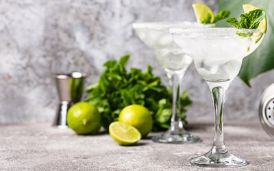Margarita, cocktail, tequila, orange liqueur, lime juice, salt, frozen margarita, lime, cocktail glass