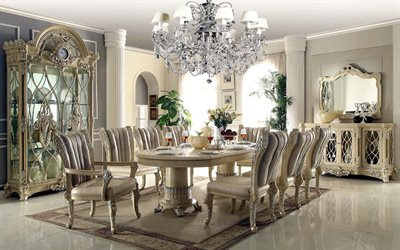 classic interior design, living room, dining room, large dining wooden table, luxurious interior, luxurious wooden chairs