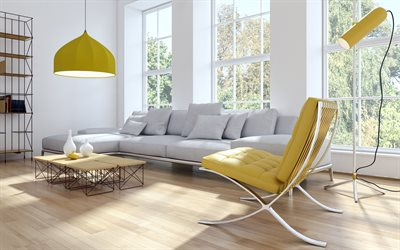 stylish living room interior design, living room project, modern style, large gray sofa, yellow leather armchair, stylish furniture, modern interior design, living room