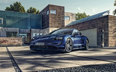 Porsche Taycan, 2020, exterior, sports electric car, front view, new blue Taycan, electric cars, German cars, Porsche