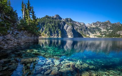 Cascade Range, mountain lake, beautiful nature, North America, USA, Washington, America