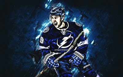 Tyler Johnson, Tampa Bay Lightning, portrait, american hockey player, blue stone background, NHL, USA, hockey