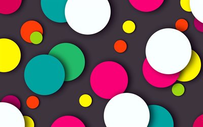 colorful circles, gray background, creative, abstract background, neon art, abstract art, circles