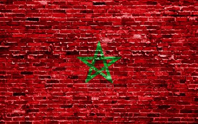 4k, Moroccan flag, bricks texture, Africa, national symbols, Flag of Morocco, brickwall, Morocco 3D flag, African countries, Morocco