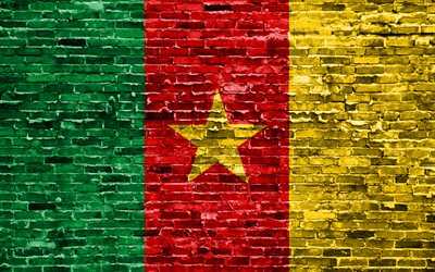 4k, Cameroon flag, bricks texture, Africa, national symbols, Flag of Cameroon, brickwall, Cameroon 3D flag, African countries, Cameroon
