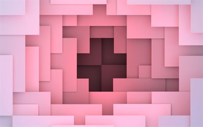 material design, pink lines, 4k, geometric shapes, lollipop, geometry, creative, strips, pink backgrounds, abstract art