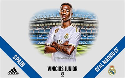 Vinicius Junior, Real Madrid, portrait, Brazilian footballer, midfielder, La Liga, Spain, Real Madrid footballers 2020, football, Santiago Bernabeu