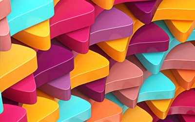 colorful triangles, 4k, abstract art, geometry, 3D art, geometric shapes, creative, 3D triangles, colorful backgrounds