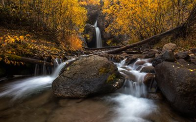 waterfall, autumn, yellow trees, yellow leaves, autumn landscape, river, beautiful waterfall