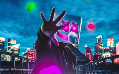 Marshmello, fan art, american DJ, nightscapes, Christopher Comstock, superstars, creative, DJ Marshmello, DJs