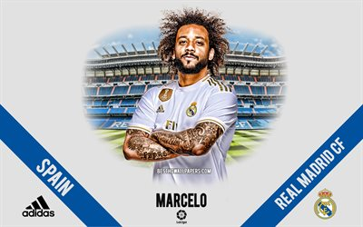 Marcelo, Real Madrid, portrait, Brazilian footballer, midfielder, La Liga, Spain, Real Madrid footballers 2020, football, Santiago Bernabeu, Marcelo Vieira da Silva Junior