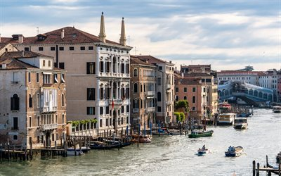 Venice, early morning, channel, boats, cityscape, Italy, Province of Venice
