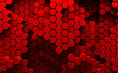 red hexagons, 3D art, hexagons texture, creative, macro, honeycomb, red hexagons background, hexagons textures, red backgrounds, hexagons patterns