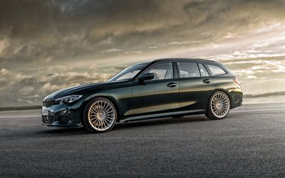 Alpina B3 Touring, 2019, G21, 4k, exterior, front view, wagon, dark green BMW 3 wagon, tuning G21, German cars, BMW