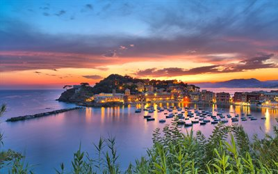 Sestri Levante, evening, sunset, bay, yachts, bay with boats, Liguria, Italy