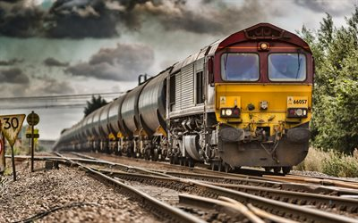 cargo train, 4k, railway, cargo transportation, oil transportation, HDR, trains