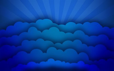 blue 3D clouds, creative, abstract art, blue rays, blue backgrounds, clouds