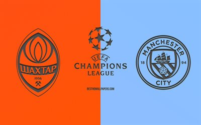 Shakhtar Donetsk vs Manchester City, football match, 2019 Champions League, promo, orange-blue background, creative art, UEFA Champions League, football, Shakhtar vs Manchester City