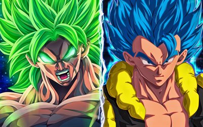 Broly vs Gogeta, 4k, Dragon Ball, fan art, DBS, Dragon Ball Super, Broly, Gogeta, DBS characters, Broly DBS, Gogeta DBS