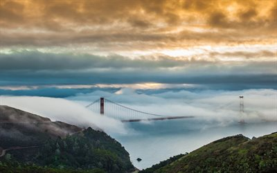 Golden Gate Bridge, morning, fog, sunrise, San Francisco, California, USA, bridge in the fog