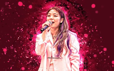 Ailee, 4k, K-pop, south korean singer, pink neon lights, Amy Lee, South Korean celebrity, Kara, asian woman, beauty, Ailee 4K