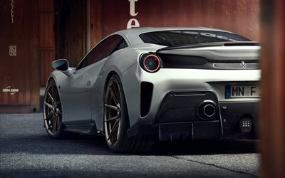 Ferrari 488 Pista, Novitec Rosso, 2019, rear view, sports coupe, gray 488 Pista, tuning 488 Pista, italian sports cars, Ferrari