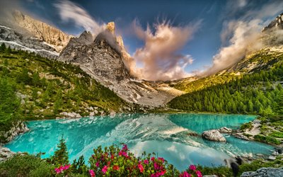 Dolomites, Italy, mountains lakes, Alps, Europe, beautiful nature, summer, HDR
