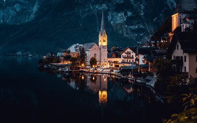 Hallstatt Lake, evening, church, beautiful lake, small city, Hallstatt, Dachstein, Austria, Upper Austria