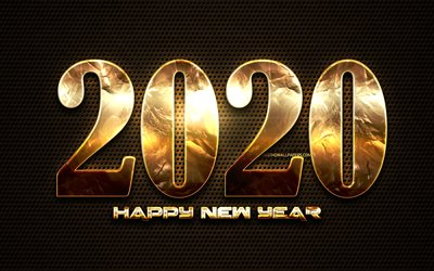2020 golden digits, metal dotted background, Happy New Year 2020, 2020 metal art, 2020 concepts, golden linear digits, 2020 on brown background, 2020 year digits
