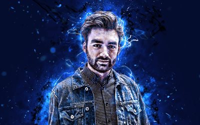 Oliver Heldens, 4k, blue neon lights, Dutch DJs, fan art, music stars, superstars, Oliver Heldens 4K