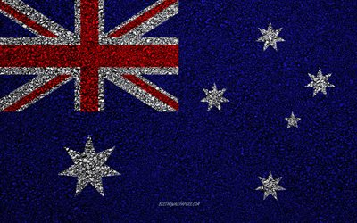 Flag of Australia, asphalt texture, flag on asphalt, Australia flag, Oceania, Australia, flags of Oceania countries