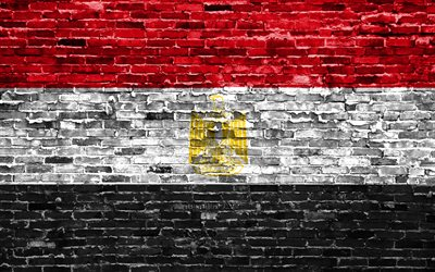 4k, Egyptian flag, bricks texture, Africa, national symbols, Flag of Egypt, brickwall, Egypt 3D flag, African countries, Egypt