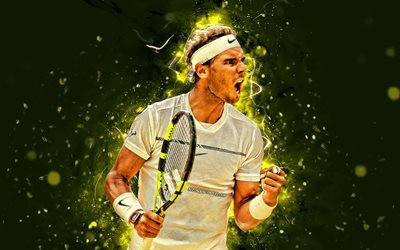 Rafael Nadal, 4k, spanish tennis players, ATP, neon lights, tennis, Rafael Nadal Parera, fan art, Rafael Nadal 4K