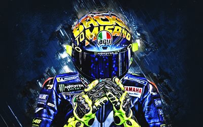 Valentino Rossi, Italian motorcycle racer, MotoGP, creative art, blue creative background, Rossi helmet, Monster Energy Yamaha MotoGP