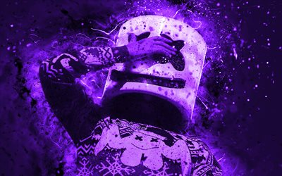 DJ Marshmello, 4k, violet neon lights, music stars, Christopher Comstock, american DJ, night club, creative, Marshmello Helmet, superstars, Marshmello, DJs