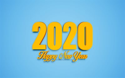 Happy New Year 2020, blue 2020 background, yellow 3d letters, 2020 3d background, creative art, 2020 concepts, 2020 New Year