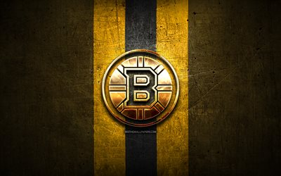 Boston Bruins, golden logo, NHL, yellow metal background, american hockey team, National Hockey League, Boston Bruins logo, hockey, USA