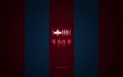 FC Barcelona, Spanish football club, La Liga, blue burgundy logo, blue burgundy carbon fiber background, football, Barcelona, Catalonia, Spain, FC Barcelona logo