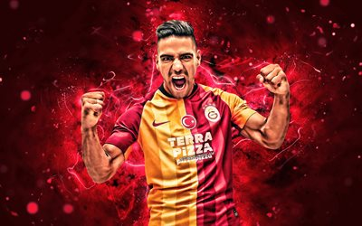 Radamel Falcao, 4k, 2019, Galatasaray SK, Colombian footballers, soccer, forward, Turkish Super Lig, Galatasaray FC, Radamel Falcao García Zarate, footaball, neon lights, Radamel Falcao Galatasaray