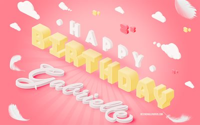 Happy Birthday Gabrielle, 3d Art, Birthday 3d Background, Gabrielle, Pink Background, Happy Gabrielle birthday, 3d Letters, Gabrielle Birthday, Creative Birthday Background