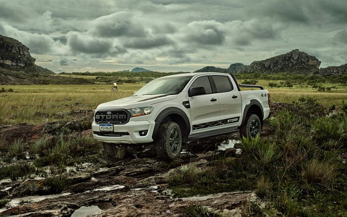 Ford Ranger Storm, 4k, offroad, 2020 cars, HDR, 2020 Ford Ranger, american cars, Ford