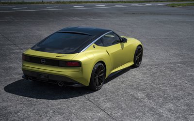 2020, Nissan Z Proto, rear view, exterior, yellow sports coupe, japanese sports cars, Nissan