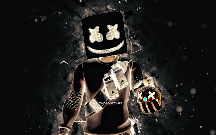 Marshmello, 4k, luci al neon bianche, giochi 2020, Fortnite Battle Royale, personaggi Fortnite, Marshmello Skin, Fortnite, Marshmello Fortnite