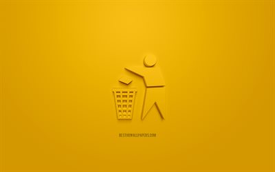Garbage 3d icon, yellow background, 3d symbols, Garbage dump location, creative 3d art, 3d icons, Garbage sign, Information 3d icons