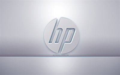 HP 3d white logo, gray background, HP logo, creative 3d art, Hewlett-Packard, 3d emblem