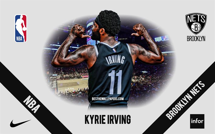 Kyrie Irving, Brooklyn Nets, joueur de basket-ball américain, NBA, portrait, USA, basket-ball, Barclays Center, logo de Brooklyn Nets