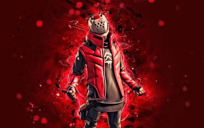 X-Lord, 4k, red neon lights, 2020 games, Fortnite Battle Royale, Fortnite characters, X-Lord Skin, Fortnite, X-Lord Fortnite